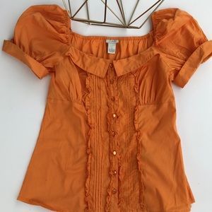 Odille Anthropologie Orange Ruffle Top